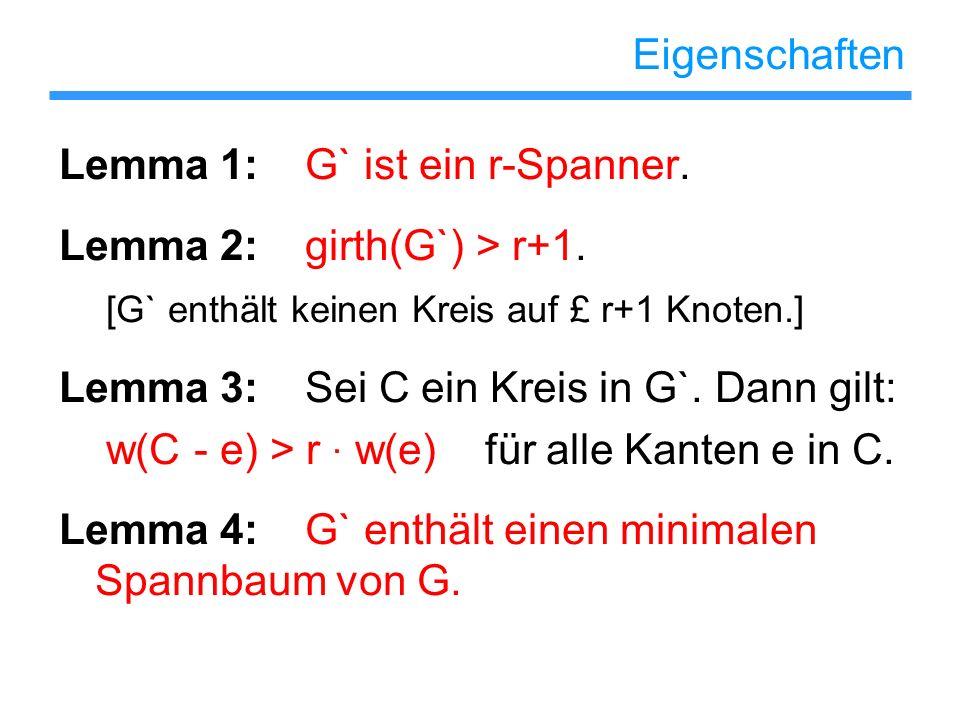 Eigenschaften Lemma 1: G` ist ein r-Spanner. Lemma 2: girth(G`) > r+1. [G` enthält keinen Kreis auf £ r+1 Knoten.]
